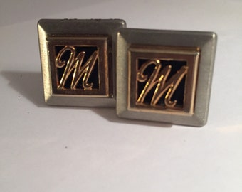 Vintage M Lettered Cuff Links