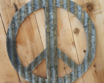 FREE SHIPPING Up-cycled old Corrugated Metal Peace Sign Wall Hanging