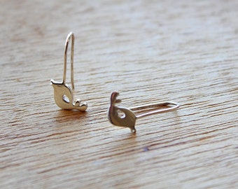 Bird earrings - Bird hook earrings - birds in silver