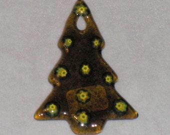 Fused Glass Tree Ornament - Transparent Chartuse with milliafiore