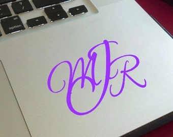 Script Style Monogram Vinyl Decal / Laptop Decal / Cell Phone Decal / Cell Phone Sticker / Tablet Decal / Sticker / Initials / Girl Decal