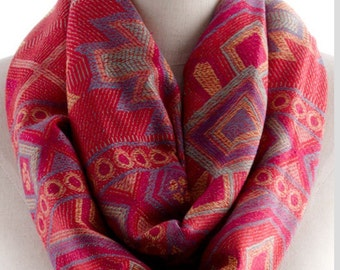 Tribal print red Infinity scarf, birthday Gift Ideas, gifts for mom for her, most popular items, summer gift ideas love   - By PIYOYO