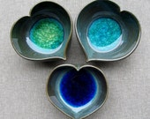 Green Ceramic Tiny Pot Heart Shape with Recycled Colored Glass: Valentine's Day, Ring Holders, Trinket Catchers