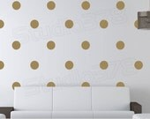 Gold Polka Dots Wall Decals - 5in - Polka Dot Nursery - Wall Dots - Trend Decor - Circle Wall Decals - Office Decor - Wall Stickers - Set40
