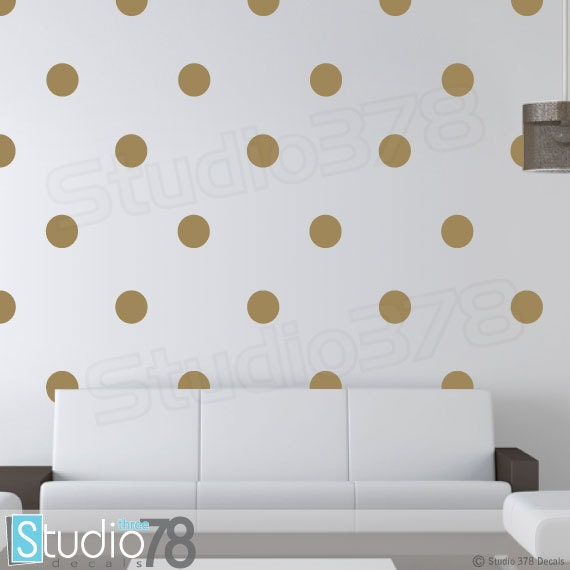gold polka dots wall decals 5in polka dot by studio378decals. Black Bedroom Furniture Sets. Home Design Ideas