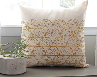 mustard yellow pillow | spotted scallops | 18 inch pillow cover | yellow spotted pillow