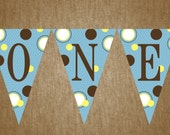 1st Birthday Highchair Banner - with Monkey - DIY Printable - Pink and Blue