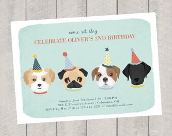 Dog Theme Birthday Invitation - Children's Birthday Invite