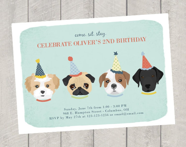 Dog Party Invitations Printable Boy