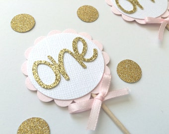 20 Pink and Gold Glitter Cupcake Toppers with Pink Bow.   Girly Birthday. 1st Birthday, Birthday Cupcake Topper, Pink and Gold Party.