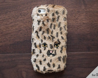 Leopard iPhone Cover for iPhone5 / 5c / 5s [soft type] Brown