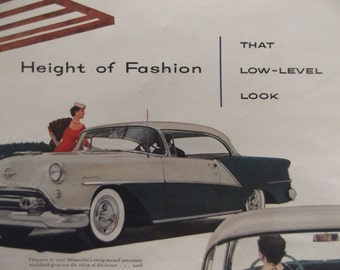 1954 OLDSMOBILE NINETY-EIGHT Original Vintage Automobile Advertising Antique Cars Additional Ads Ship Free Ready To Frame