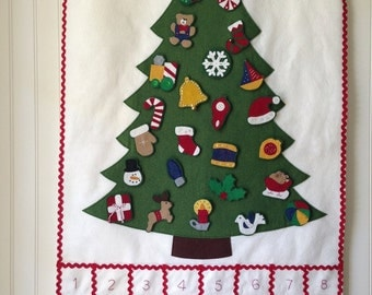 KIT ADVENT CALENDAR -- diy Christmas tree felt advent calendar -- felt ornaments -- Christmas countdown kit -- Christmas ornament kit