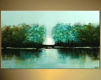 """Modern Turquoise Green Landscape Trees Painting Abstract Acrylic Art by Osnat - MADE-TO-ORDER - 48""""x30"""""""