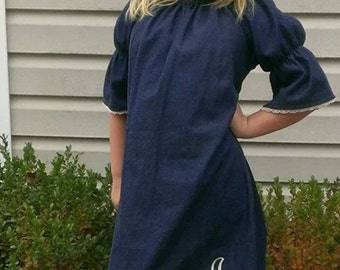 Monogrammed denim peasant dress with lace