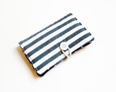 White Grey Stripes Fabric Business Card Holder, with Navy Lattice - Credit Card Holder, Cloth Card Holder, Gift Card Holder