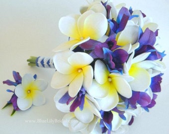 Plumeria and Blue Dendrobium Orchid Bridal Bouquet-  Real Touch Flowers- White, Blue and Violet