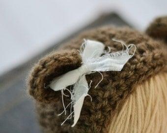 Crochet Bear Hat / Bear Hat / Newborn Girl Bear Hat / Fuzzy Bear Hat / Newborn Bear Hat / Bonnet with Bow Baby Bear Hat / Baby Girl Bear Hat