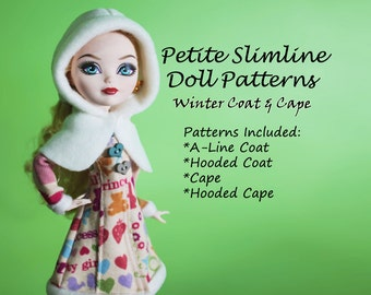 Coat and Hooded Cape Doll Clothes Pattern for Petite Slimline: Monster, Ever After, Dal, Obitsu, Super Hero
