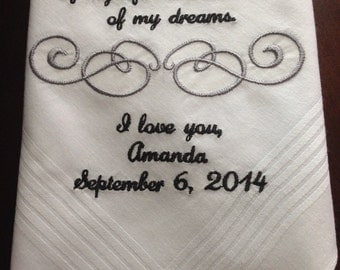Groom handkerchief, Cute note from bride to her groom on her wedding day