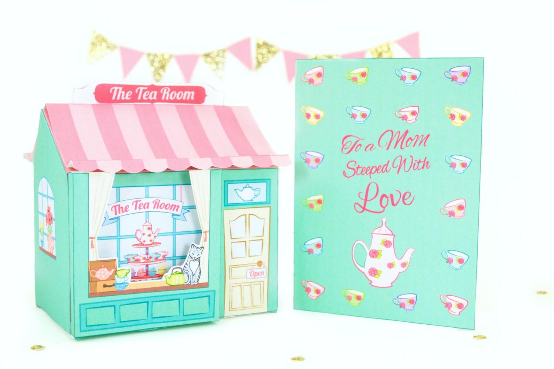 Mother s day tea shop gift set printable box and