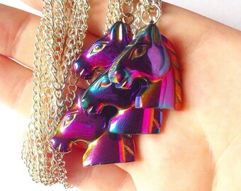 Hermatite Rainbow Galaxy Space Horse Necklace
