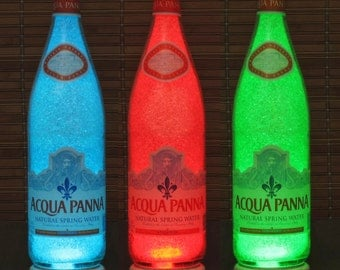 Acqua Panna Spring Water 25oz Remote Controlled Color Changing LED Bottle Lamp Bar Light Italy