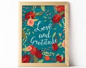 Love and gratitude. Printable wall art decor, Print nursery, Baby Room Decor, Elegant printable, by OhMammaMia