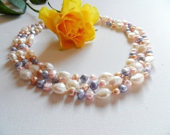 Pearl Necklace - Classic Necklace - Pastel Pearls Necklace - Long Necklace - Strand Necklace - Pearl Rope Necklace - Mother's Day Gift