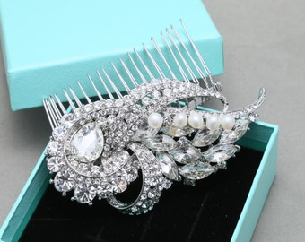 Bridal Hair Comb, Wedding Hair Comb, Vintage Style Hair Comb, Rhinestone Crystals Hair Comb, Freshwater pearls Hair Comb, Alligator Clip