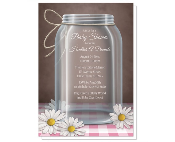mason jar baby shower invitations rustic country pink purple blue