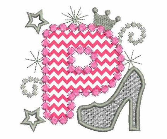 This Would Be Cute To Change Into The Welcome Letter To: Pink Silver Letter P High Heel Shoe For Cute Girls Applique
