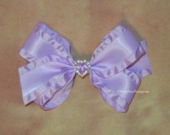"Double Ruffle Satin Hair Bow w/ Rhinestone Charm - Dressy 5.5"" RoseyBow® Boutique Hair Bow - Large Dressy Satin Double Ruffle Hair Bow"