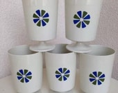 SALE Vintage Picnic plastic cups green blue flowers 10 oz by David Douglas set of 5