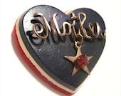 Vintage Patriotic Mother Heart Brooch