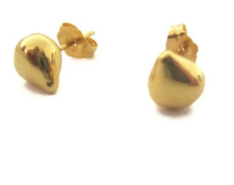 Gold Teardrop Studs, Vermeil Gold Stud Earrings, Vermeil  Small Gold Studs,  Earrings Artisan Handmade by Sheri Beryl