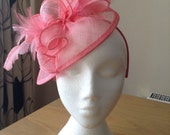 Barbie Pink Sinamay and Feather Fascinator Formal Hat on a hair band, Kentucky Derby, Ascot, Melbourne Cup