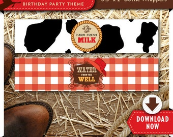 Cowboy Water Bottle Labels   Wrappers   Printable Birthday Party Decorations   Instant Download