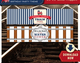 Train Water Bottle Labels | Wrappers | Printable Birthday Party Decorations | Instant Download