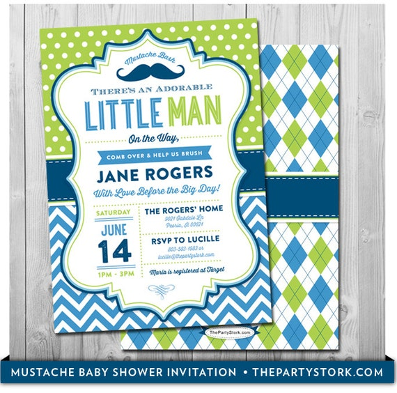 Mustache Baby Shower Invitation Printable Little Man Party