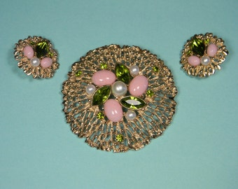 Sarah Coventry Fashion Splendor Pink and Green Jewelry Set, Classic 70s