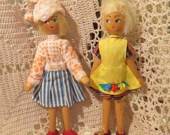Pair of Vintage Wooden Dolls from Poland