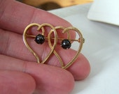 Star Diopside Genuine Gemstone Altered Vintage Gold Filled Van Dell Brooch Pin Hallmarked Artisan Double Heart Motif