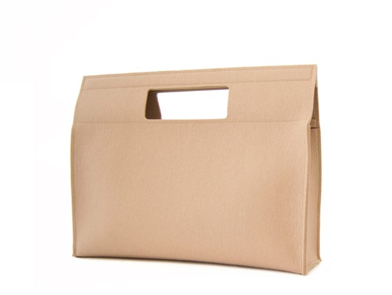 SALE - Felt HANDBAG / beige bag / cream bag / wool felt bag / womens bag / square bag / felt bag / minimalist bag