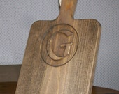 iPad Wood Stand Monogram Cutting Board Style Carved Initial of your choice