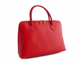Handmade Tote Bag, Red Italian Leather Purse, Designer Leather Handbag, Leather Briefcase -.- the Haupu  -.- new collection