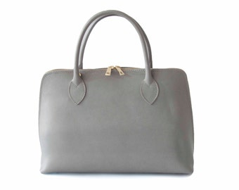 Handmade Tote Bag, Gray Italian Leather Purse, Designer Leather Handbag, Leather Briefcase -.- the Haupu  -.- new collection