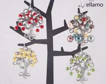 Fancy tree pendant, large tree shaped pendant with colorful beads, green, red, yellow, pastel Swarovski pearls, fruit, flower tree pendant