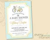 Baby Shower Invitation -- digital, printable, Baby Boy-- Baby Shower Invite -- Bike Baby Shower Invitation -- Bicycle Themed Baby Shower