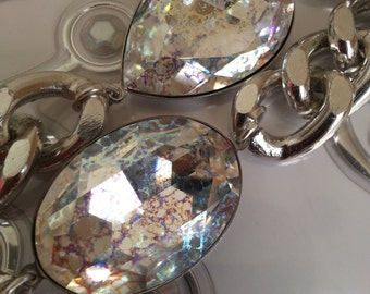 Large Ab Blue Patina Swarovski crystal bracelet